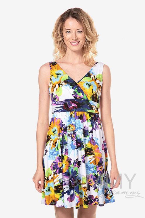 Платье-сарафан с лифом на запах для кормящих и беременных, крупные цветы