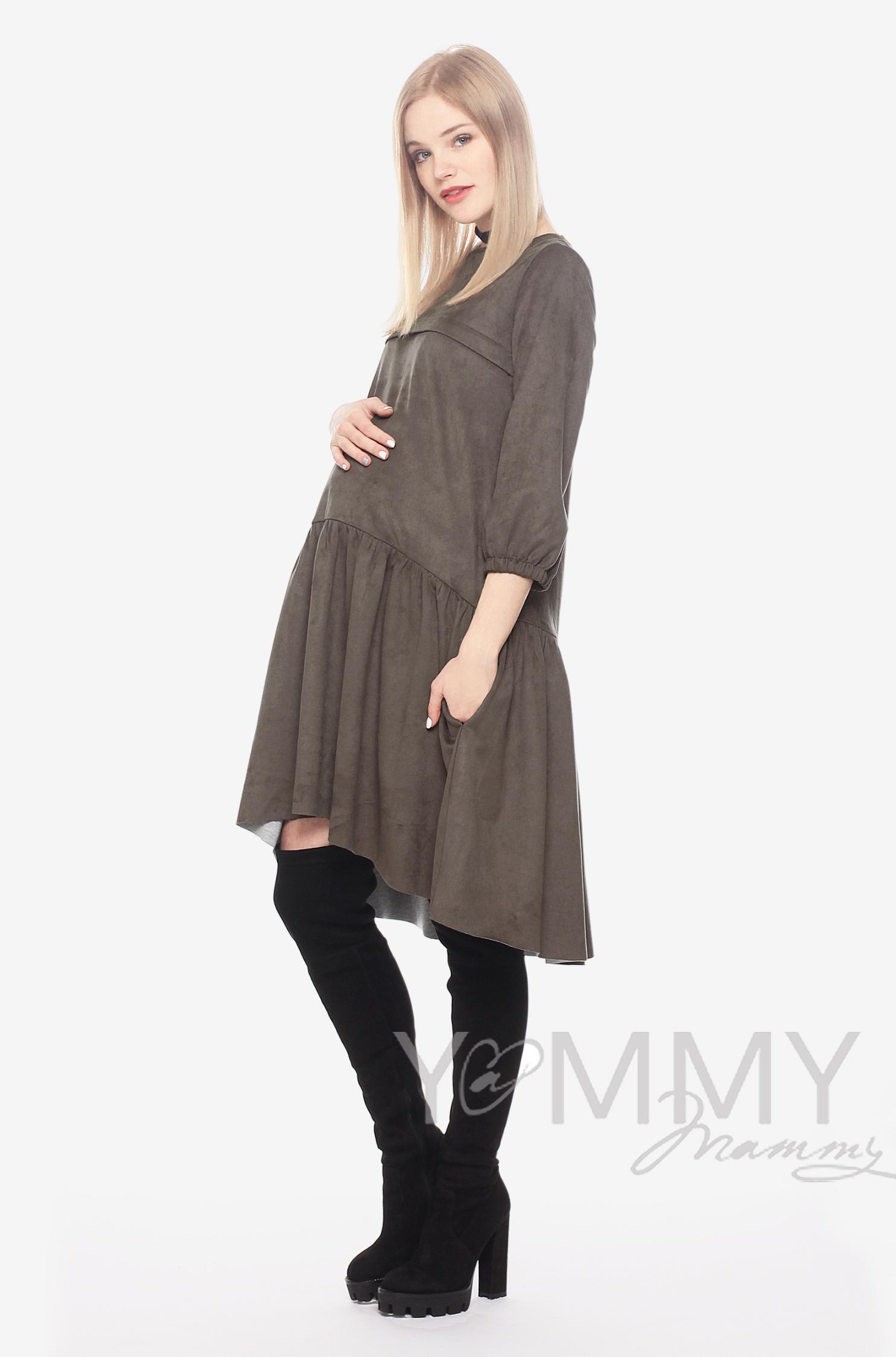 Замшевое платье для кормящих и беременных с воланом, мокко