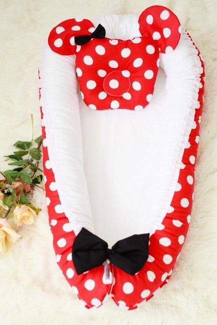 Гнездышко-кокон для новорожденных Babynest Minnie red