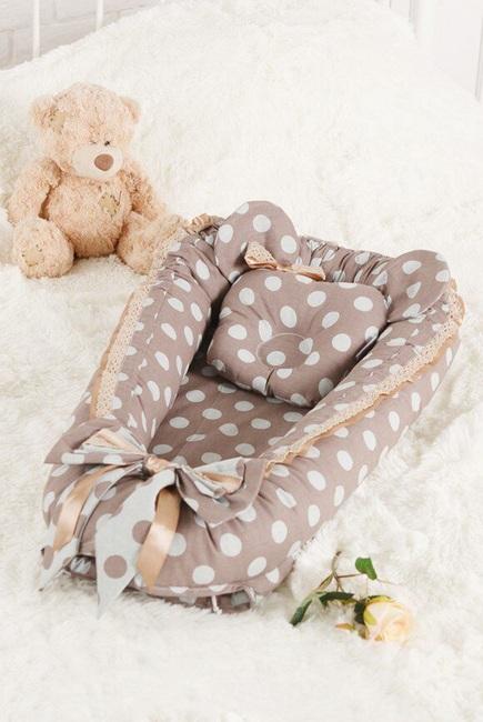 Гнездышко для новорожденных Babynest Polka dot chocco