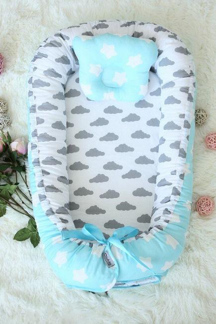 Кокон-гнездышко для новорожденных Babynest Silver Aqua
