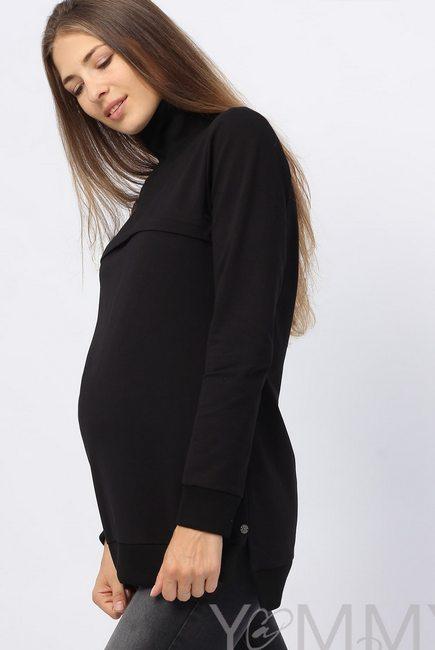Джемпер для кормящих и беременных с высоким горлом, черный