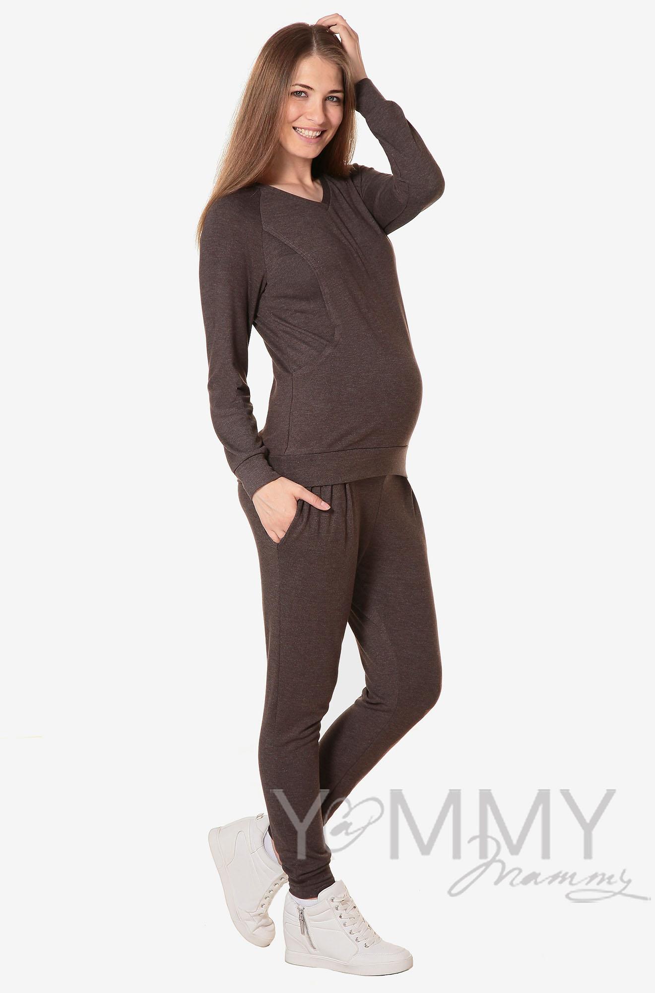 Костюм для беременных и кормящих из джемпера и брюк, мускат меланж