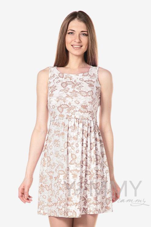 Платье для кормящих и беременных с круглым вырезом и цветочным принтом, экрю