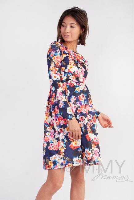 Платье для кормящих и беременных со складками, синий/цветы