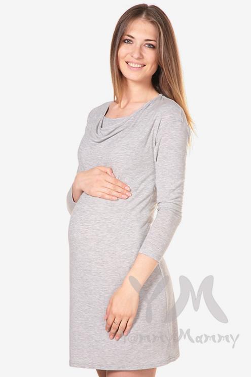 """Платье для кормящих и беременных с горловиной """"качелька"""", светло-серый меланж"""