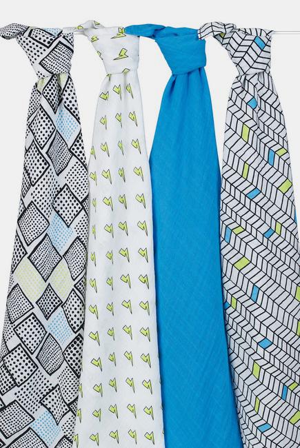 Муслиновые пеленки для новорожденных Aden&Anais, большие, набор 4, Whiz Kid