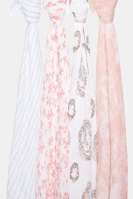 Муслиновые пеленки для новорожденных Aden&Anais, большие, набор 4, Birdsong