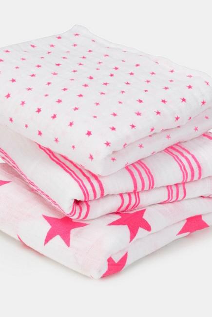 Муслиновые пеленки для новорожденных Aden&Anais средние, набор 3, Musy Neon Pink