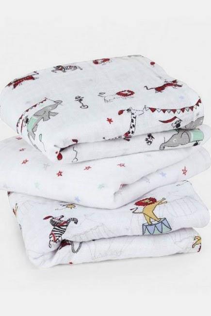 Муслиновые пеленки для новорожденных Aden&Anais средние, набор 3, Цирк