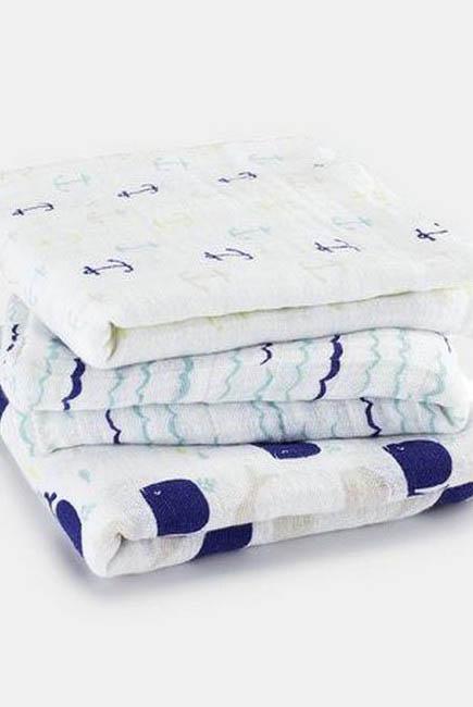 Муслиновые пеленки для новорожденных Aden&Anais средние, набор 3, High Seas