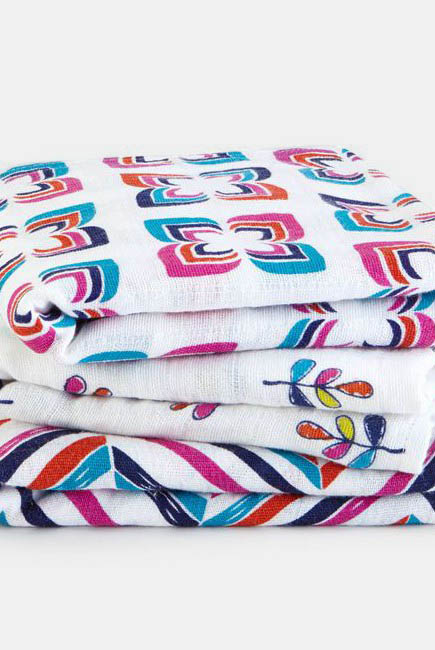 Муслиновые пеленки для новорожденных Aden&Anais средние, набор 3, Musy Flip-side