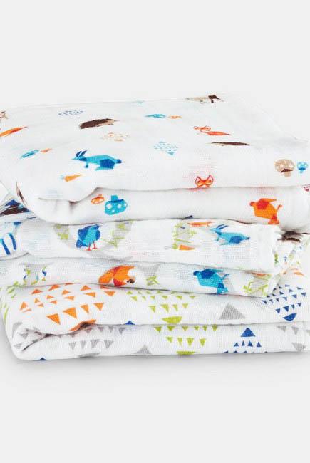 Муслиновые пеленки для новорожденных Aden&Anais средние, набор 3, Musy Paper Tales