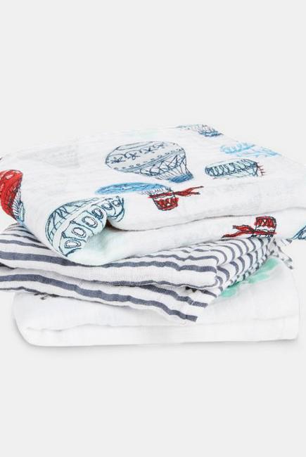 Муслиновые пеленки для новорожденных Aden&Anais средние, набор 3, Dream Ride