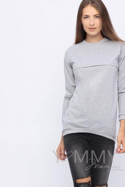Джемпер для кормящих и беременных с удлиненной спинкой, серый меланж