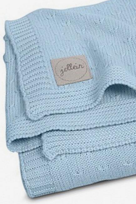 Вязаный плед для новорожденных Jollein  Soft, голубой