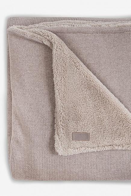 Вязаный плед для новорожденного с мехом Jollein Natural, песочный