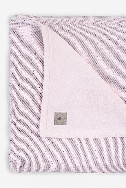 Вязаный плед для новорожденного с мехом Jollein Confetti, розовый