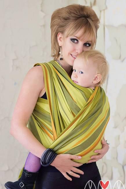 Слинг-шарф «Табатай» Амама, зелёный полосатый