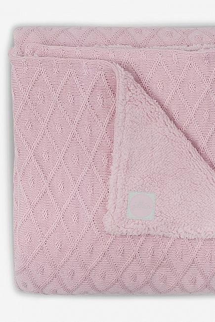 Вязаный плед для новорожденного с мехом Jollein Diamond, винтажный розовый