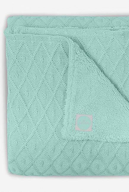 Вязаный плед для новорожденного с мехом Jollein Diamond, винтажный зеленый