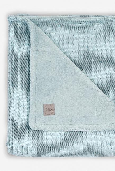 Вязаный плед для новорожденного с мехом Jollein Confetti, cеро-зеленый