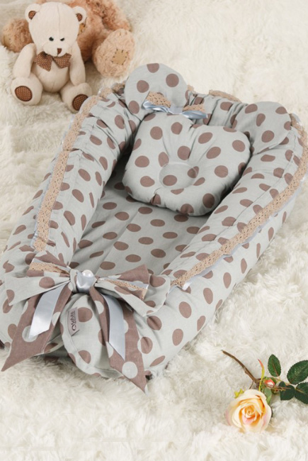 Кокон-гнездышко для новорожденных Babynest Polka Dot Grey