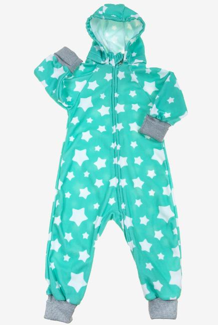 Флисовый комбинезон детский (поддева) Comfort, мятные звезды