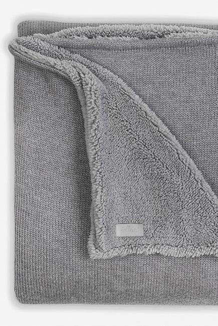 Вязаный плед для новорожденного с мехом Jollein Natural, серый