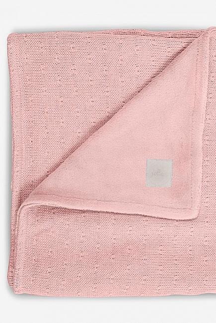Вязаный плед для новорожденного с мехом Jollein Soft, розовый