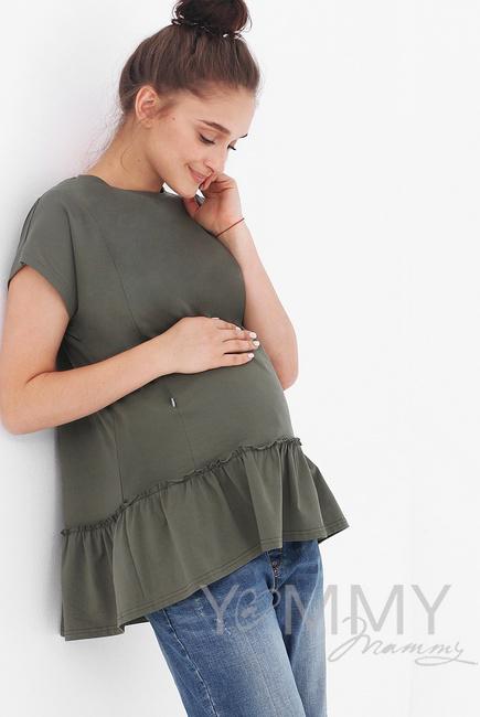 Футболка для беременных и кормящих свободного силуэта с воланом, цвет хаки
