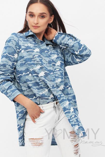 Рубашка для беременных и кормящих джинсовая, цвет милитрари