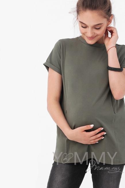 Футболка для беременных и кормящих с запахом на спине, цвет хаки