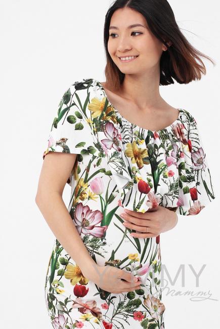 """Платье """"майка"""" для беременных и кормящих с воланом на плечах, цвет экрю / цветы"""