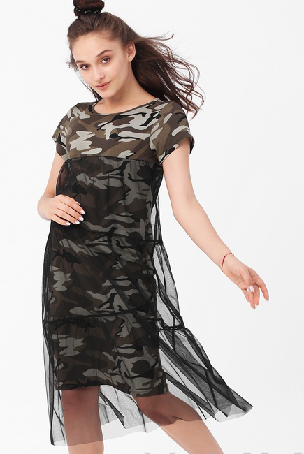Платье для кормящих и беременных милитари с сеткой, хаки/черный