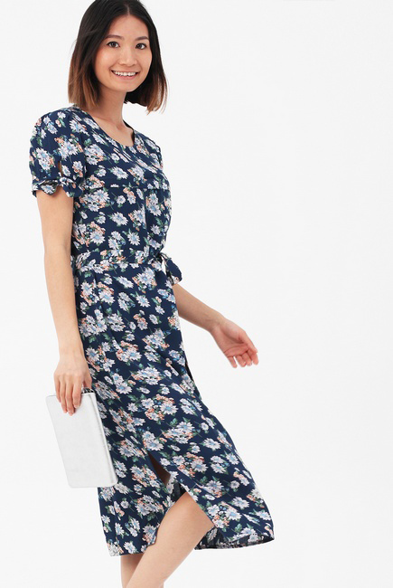 Платье для кормящих и беременных с пояском и цветочным принтом, цвет синий