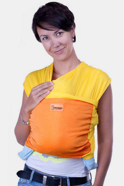 Слинг-шарф трикотажный Кенгуруша Mix, солнечный-апельсин