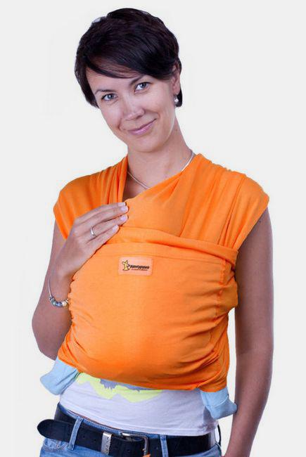 Слинг-шарф трикотажный Кенгуруша Style, апельсин