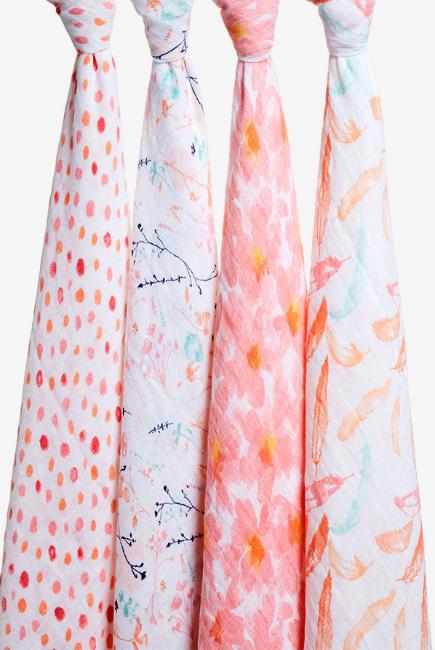 Муслиновые пеленки Aden&Anais для новорожденных, большие, набор 4, Petal Blooms