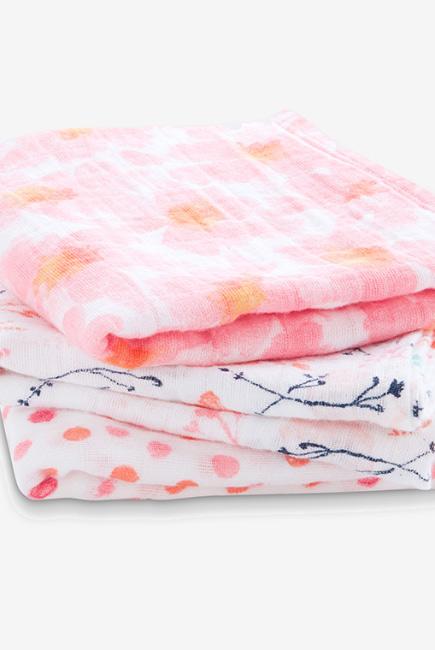Муслиновые пеленки для новорожденных средние Aden&Anais, набор 3, Petal Blooms