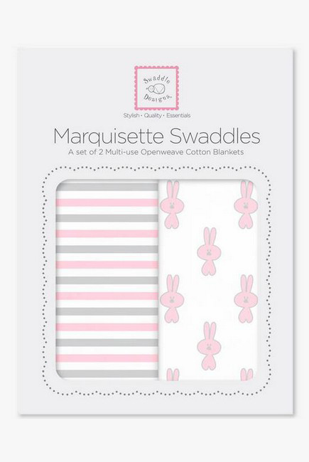 Набор пеленок SwaddleDesigns - Marquisette 2-Pack Little Bunnie Simple Stripes