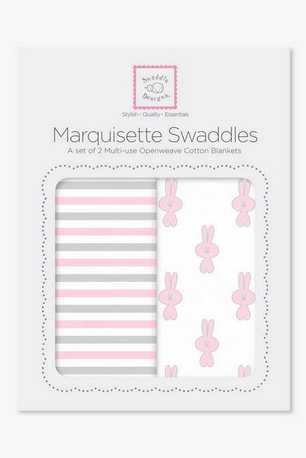 Набор пеленок SwaddleDesigns - Marquisette 2-Pack Little Bunnie Simple Stripes