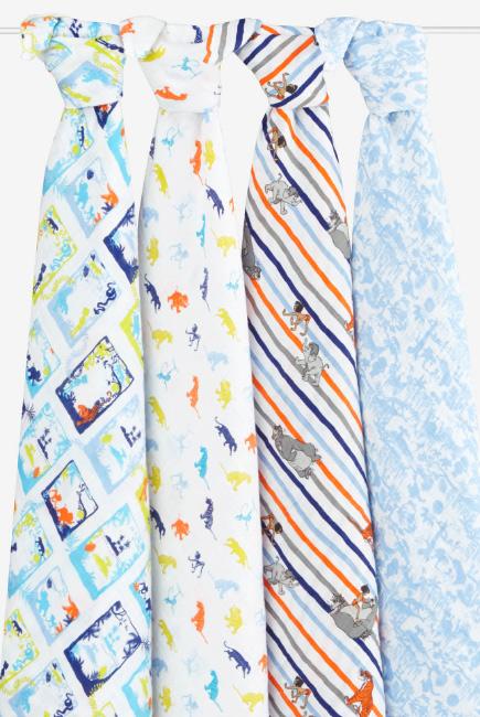Муслиновые пеленки Aden&Anais для новорожденных большие, набор 4, Disney Jungle Book