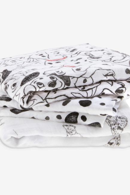 Муслиновые пеленки для новорожденных средние Aden&Anais, набор 3, Disney Dalmatians