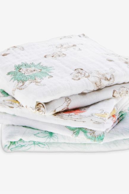 Муслиновые пеленки для новорожденных средние Aden&Anais, набор 3, Disney Lion King