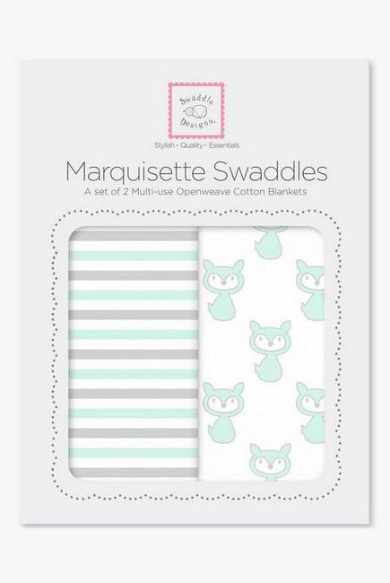 Набор пеленок SwaddleDesigns Marquisette 2-Pack Little Fox Simple Stripes