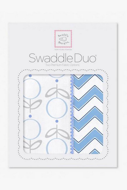 Набор пеленок SwaddleDesigns Swaddle Duo Lolli Chevron Blue