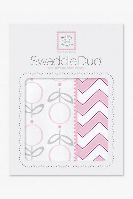 Набор пеленок SwaddleDesigns Swaddle Duo, Lolli Chevron Pink