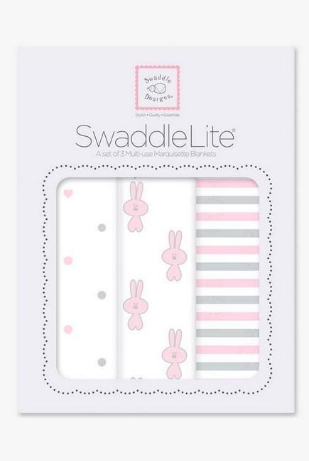 Набор пеленок SwaddleDesigns Swaddle Lite, Pstl Pink Little Bunnie