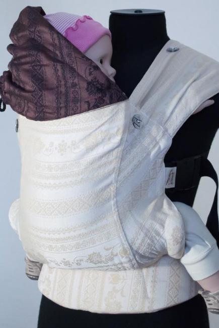 Эрго-рюкзак шарфовый с бамбуком двусторонний Karaush, Baked Milk/Black Coffee